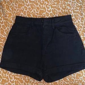 Cotton on high rise black denim shorts size 6